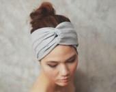 Silver Glitter Grey,Turban Twist headband, Plain color collection