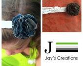White braided headband with denim flower