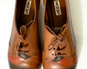 Vintage 1980s Leather Patchwork Earthtone Oxfords