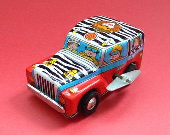 Vintage Tin Toy Car Jeep Safari Japan 1960's Wind-up