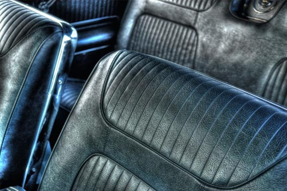 Old Car Interior Photo, HDR photograph, Blue black and silver, fine photography prints, Leathery Comfort