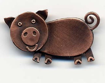 Piggy Brooch in Copper Finish