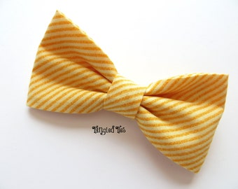 Marigold, Yellow Orange Diagonally Striped Bow Tie For Men/Teen, Boys in 100% Designer Cotton