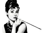 Audrey Hepburn Digital download Poster Print black and white, breakfast at tiffany's, tiffany, art, modern , pop art, home decor