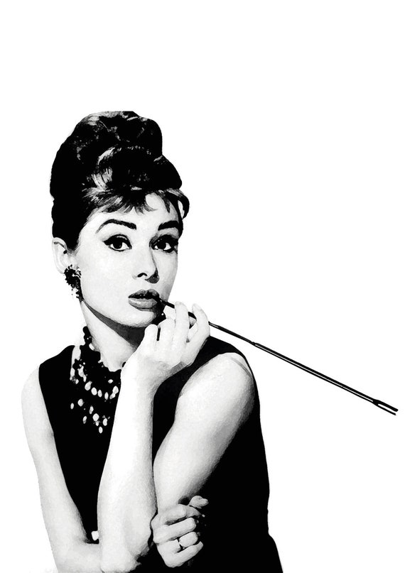 Audrey Hepburn Digital Download Poster Print Black And White Breakfast At Tiffanys Tiffany Art Modern Pop Home Decor