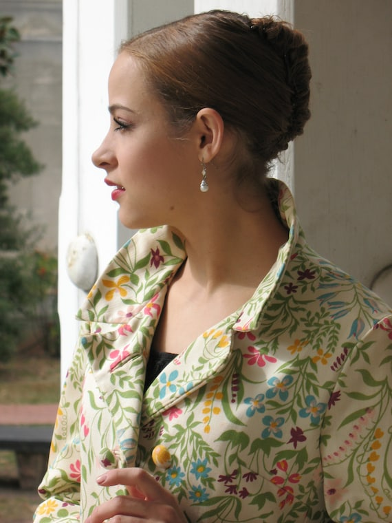 multi color flower patterned 1960's jacket coat