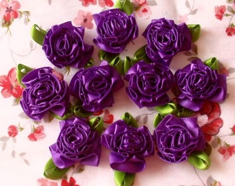 10 Handmade Flowers With Leaves (1-1/4 inches) In Purple  MY-021- 88 Ready To Ship
