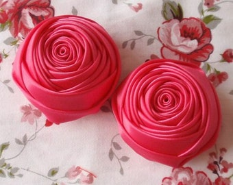 2 Handmade Rolled Ribbon Roses (2 inches) in Shocking Pink MY-012-31 Ready To Ship