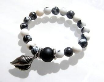 Stretch Bracelet - Black White Picasso Jasper Gemstone Bead with Antique Silver Seasshell