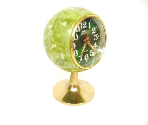 Vintage Green Ball Alarm Clock by Sabre