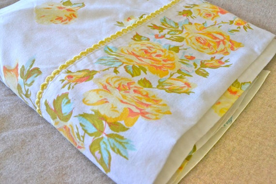 Vintage Rose Sheet Yellow Rose Floral Double Sheet Cottage
