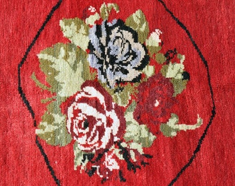 Turkish Rose Rug -  1972  -- 5 ft. 4 in. by 3 ft. 7 in.