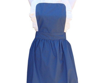 Beautiful Handmade full apron dress  for kitchen cooking round  Accessories blue