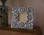 Vintage Primitive Carved Flower Wood Frame,handpainted frame,bohemian flower