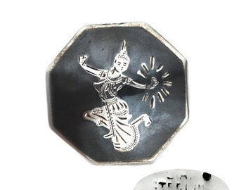 Vintage Sterling Silver Siam Sita Eight-Sided Pin
