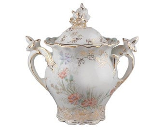 Antique Krautheim & Adelberg Selb Hand Painted Covered Sugar Bowl