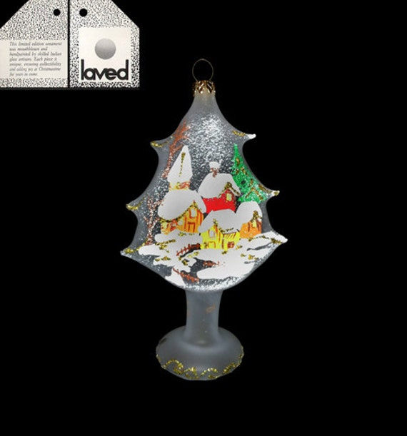 Limited Edition Luxury Christmas Ornaments: Vintage Limited Edition Laved Frosted Tree Holiday Ornament