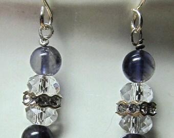 Navy Iolite, Rhinestones and Crystal Earrings