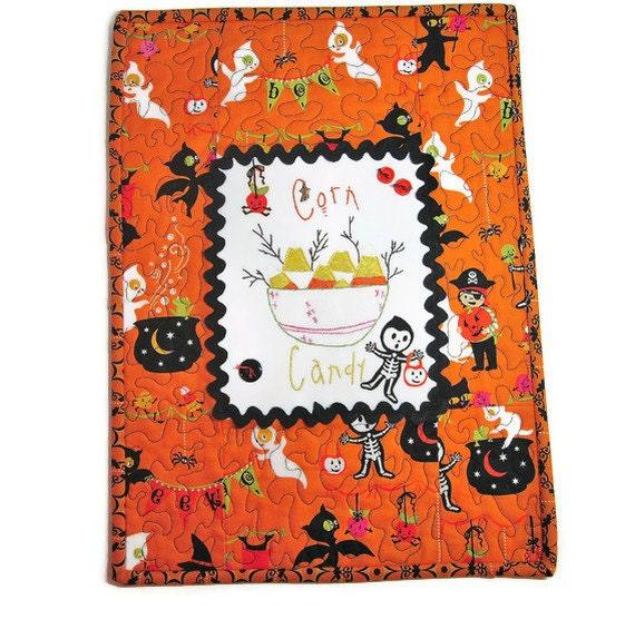 Clearance Halloween Runner Quilt Mat Hand Embroidered
