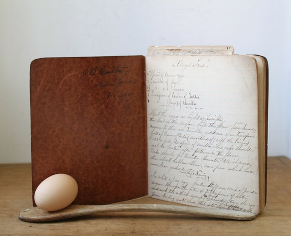 Antique handwritten recipe journal, 1800s. Victorian cooking ephemera, 19th century home cookbook.