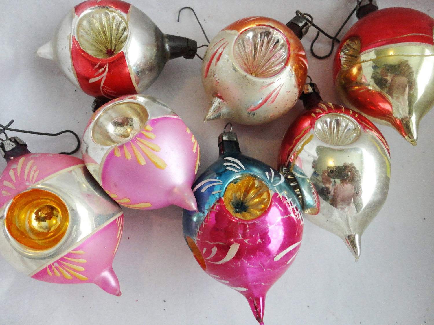 Clearance sale 7 vintage mercury glass christmas ornaments for Christmas decorations clearance