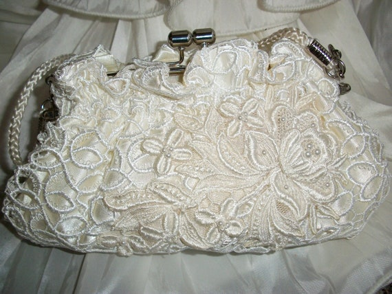 Vintage Lace Bridal Clutch Pale Ivory, Rich Ivory Applied Applique Lifted Layered Front