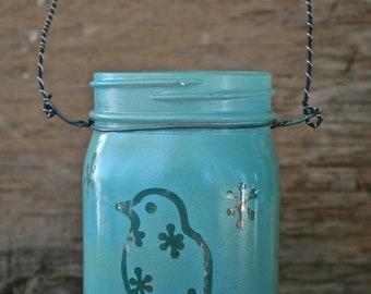 Mason Jar Lantern, Bluebird on a branch, Canning Jar Lighting