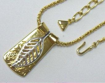 Vintage Liz Claiborne Articulated Gold & Silver Leaf Pendant Necklace