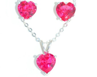 3 Ct Ruby Heart Earrings and Pendant .925 Sterling Silver Rhodium Finish