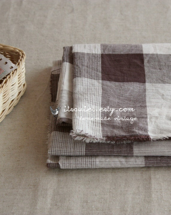 Japanese imported dress fabric, muji style irregular gingham, zakka dress fabric,LAST PIECE