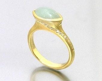 Golden Milky Aquamarine Ring