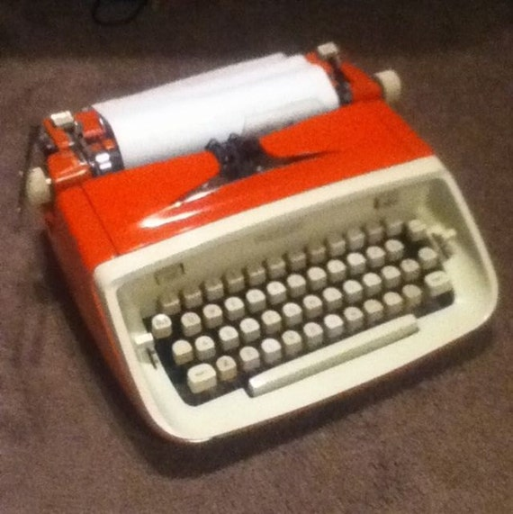 ROYAL SAFARI vintage typewriter red orange rare with case 1960s Mad Men Eames era