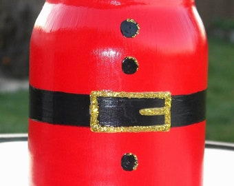 Hand painted Santa mason jar