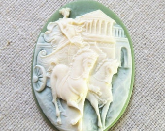 6 pcs of vintage cameo 30x40mm -0153-crean on olive