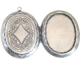 2 pcs of brass locket for 30x40mm cameo-BL3003-Antique silver