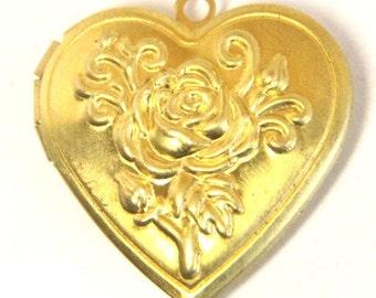 6 pcs of brass rose heart locket 30x28mm-BL3011-raw brass