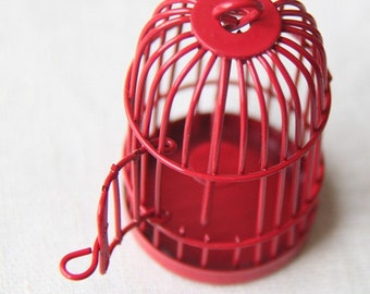 6 pcs Of metal bird cage pendant 28x28x35mm-MP1009-red