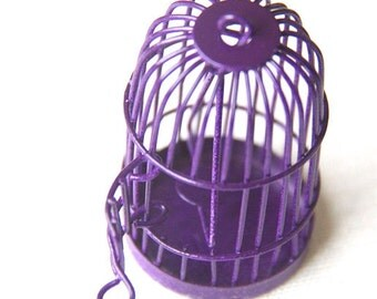 6 pcs Of metal bird cage pendant 28x28x35mm-MP1009-purple
