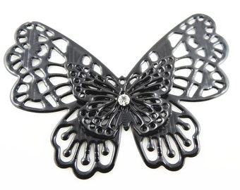 2 pcs of double layer butterfly filigree pendant 60x45mm-fit with rhinestone-black