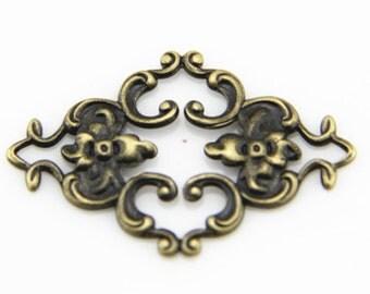 6 pcs of resin vintage victorian brass filigree-36x22mm-1890 -antique bronze