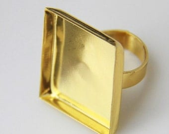 2 pcs of brass ring base with 25x25mm cameo setting-4041-gold