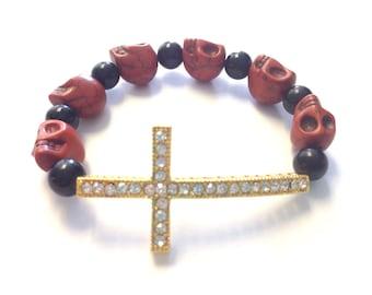 Gold Sideways Rhinestone Cross Howlite Skull  Beaded Bracelet