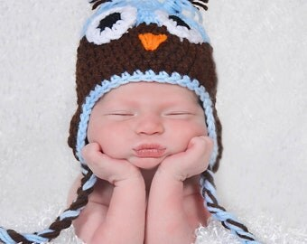 Crochet Blue/brown owl