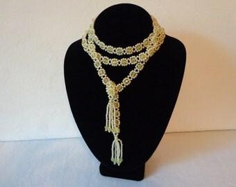 Crocheted Beaded Long Necklace 1970 Era