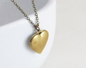 Brass Heart Necklace - Heart Necklace - Thin Necklace - Personalized Necklace - Charm Necklace