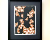 Falling Leaves Burnt Orange, Taupe and Black Painting in a Geometric, Asymmetrical Abstract Pattern