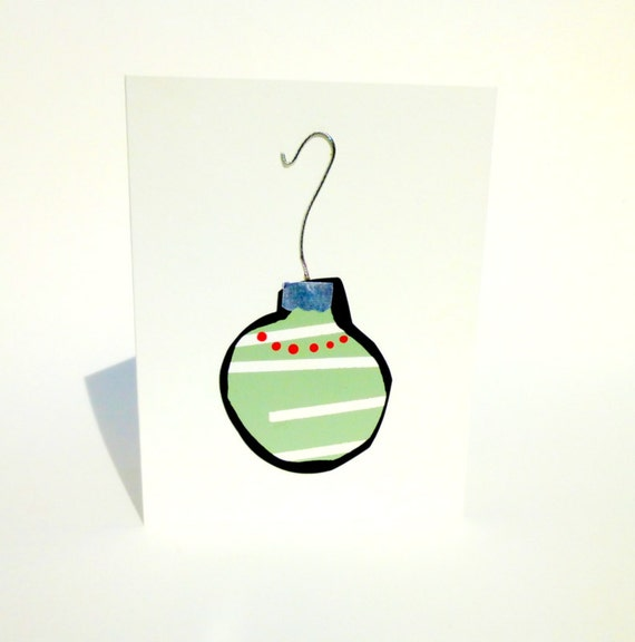 Christmas Card, Handpainted (not printed) Ornament in Mint Green and White with a Real Silver Cap and Hook