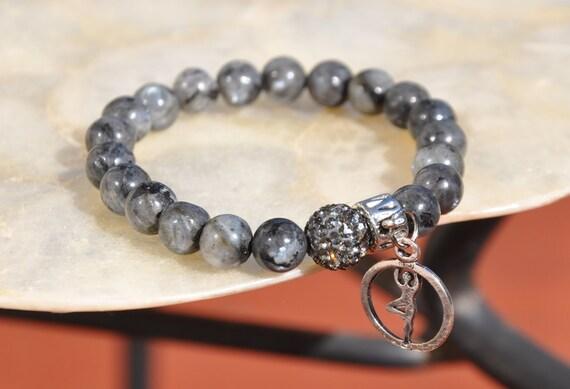Intuition and Imagination  Gray Labradorite Beaded Bracelet , Rhinestone Pave bead bracelet , Yoga Bracelet , Yoga Charm