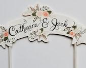 Custom Wedding Cake Topper - Cream   Bride & Groom's Name Handpainted