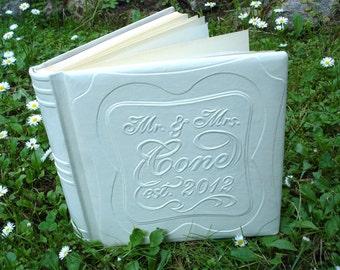 White Leather Wedding Album, Custom Wedding Album, Wedding Photo Book, Personalized Album, Handmade Photo Album, Wedding Gift, 9 x 9 in.